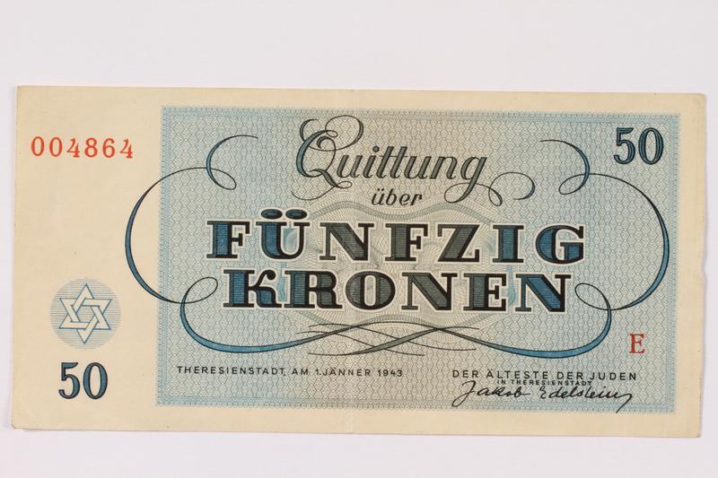 1990.110.6 back Theresienstadt ghetto-labor camp scrip, 50 kronen note