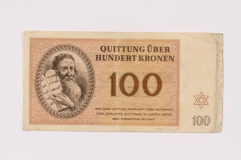 1990.110.7 front Theresienstadt ghetto-labor camp scrip, 100 kronen note