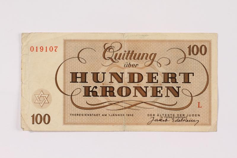 1990.110.7 back Theresienstadt ghetto-labor camp scrip, 100 kronen note