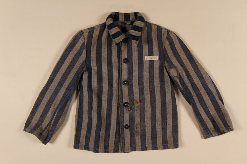 1990.113.1 front Concentration camp jacket with a prisoner ID patch worn by a Polish Jewish inmate