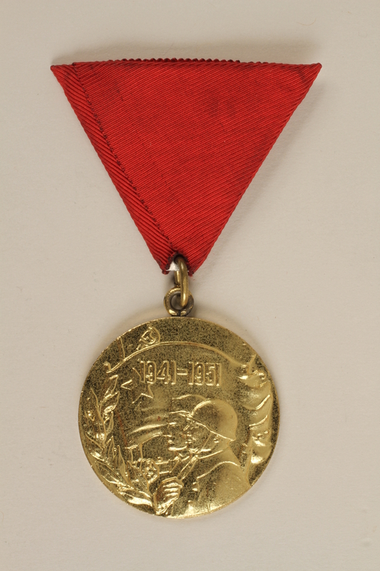 1990.118.19 front Medal for service as a Yugoslav partisan fighter
