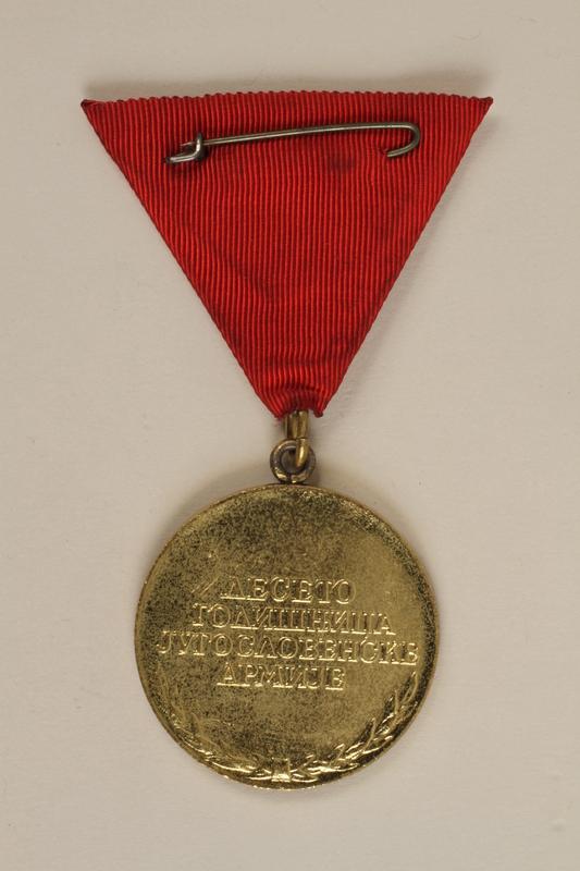 1990.118.19 back Medal for service as a Yugoslav partisan fighter