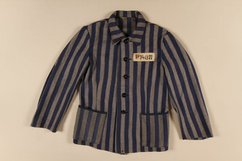 1994.55.2 front Concentration camp uniform jacket with red triangle worn by a Polish Jewish inmate