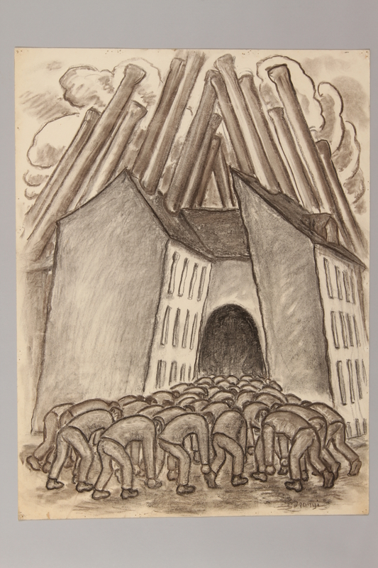 1990.125.10 front Drawing created by a Jewish artist who perished in a concentration camp