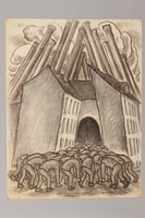 1990.125.10 front Drawing created by a Jewish artist who perished in a concentration camp  Click to enlarge