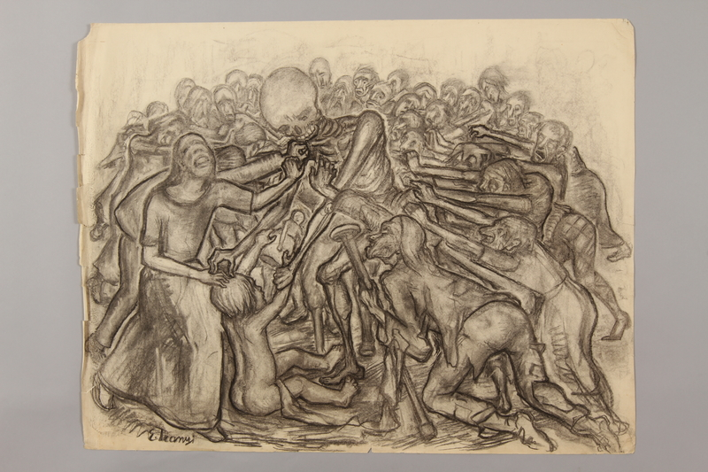 1990.125.11 front Drawing created by a Jewish artist who perished in a concentration camp