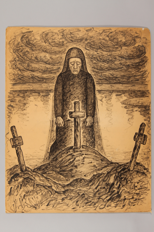 1990.125.12 front Drawing created by a Jewish artist who perished in a concentration camp