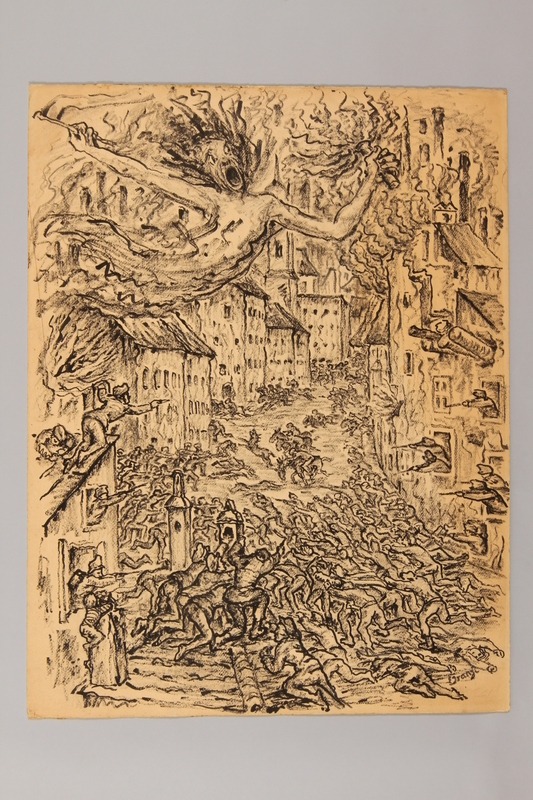 1990.125.3 front Drawing created by a Jewish artist who perished in a concentration camp