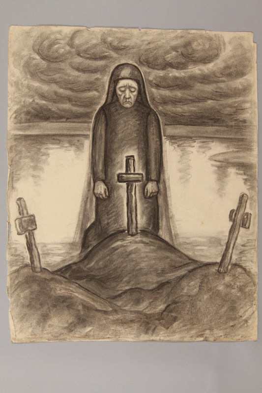 1990.125.4 front Drawing created by a Jewish artist who perished in a concentration camp