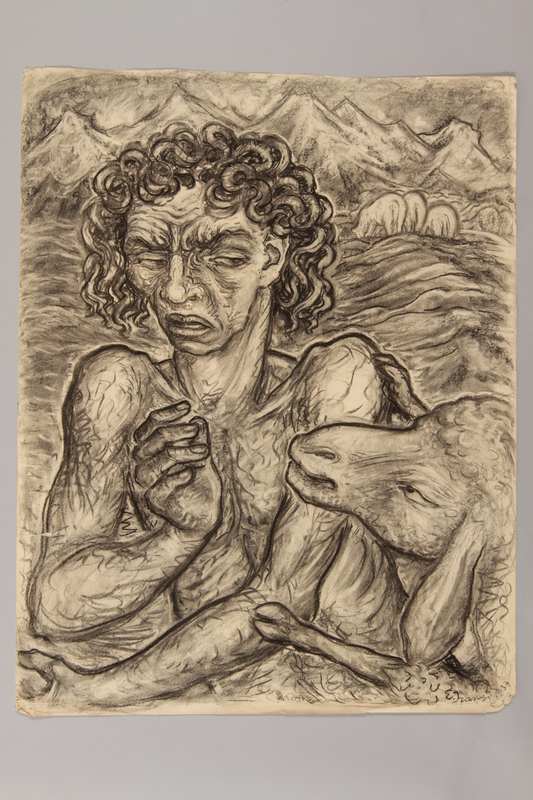 1990.125.5 front Drawing created by a Jewish artist who perished in a concentration camp