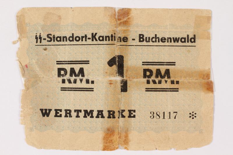 1995.23.1 front Buchenwald Standort-Kantine concentration camp scrip, 1 mark