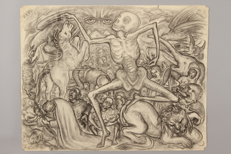 1990.125.6 front Drawing created by a Jewish artist who perished in a concentration camp