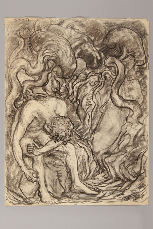 1990.125.7 front Drawing created by a Jewish artist who perished in a concentration camp