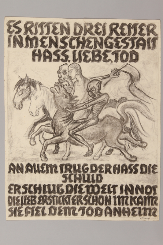 1990.125.8 front Drawing created by a Jewish artist who perished in a concentration camp