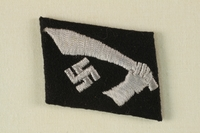 """1990.152.1 front Waffen-Gebirgs-Division der SS """"Handschar"""" (Kroatische Nr. 1) collar tab acquired by an American soldier  Click to enlarge"""