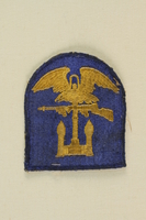 1990.152.2 front Military patch found at Dachau by an American soldier  Click to enlarge