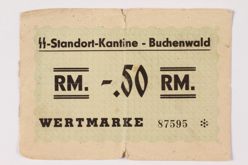 1996.139.25 front Buchenwald Standort-Kantine concentration camp scrip, -.50 Reichmarks