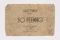 1990.16.39 front Łódź ghetto scrip, 50 pfennig note  Click to enlarge