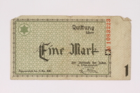 1990.16.41 front Lodz (Litzmannstadt) ghetto scrip, 1 mark note  Click to enlarge