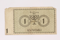 1990.16.41 back Lodz (Litzmannstadt) ghetto scrip, 1 mark note  Click to enlarge
