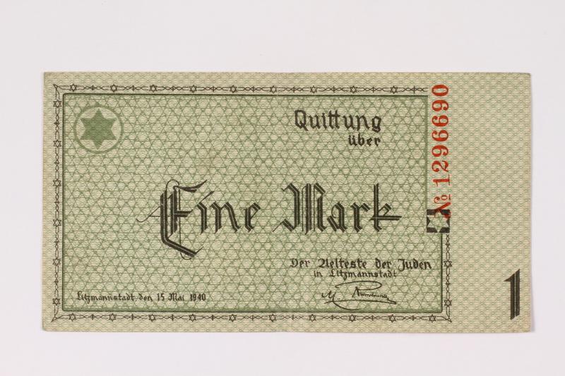 1990.16.42 front Lodz (Litzmannstadt) ghetto scrip, 1 mark note