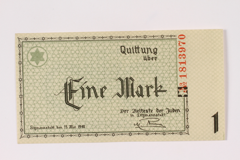1990.16.44 front Łódź (Litzmannstadt) ghetto scrip, 1 mark note