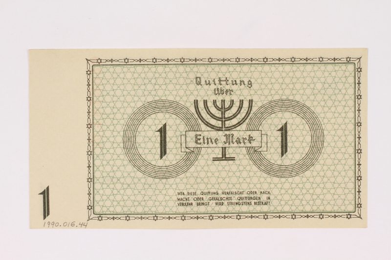 1990.16.44 back Łódź (Litzmannstadt) ghetto scrip, 1 mark note