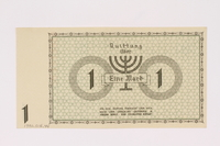1990.16.44 back Lodz (Litzmannstadt) ghetto scrip, 1 mark note  Click to enlarge