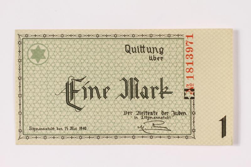 1990.16.46 front Łódź (Litzmannstadt) ghetto scrip, 1 mark note