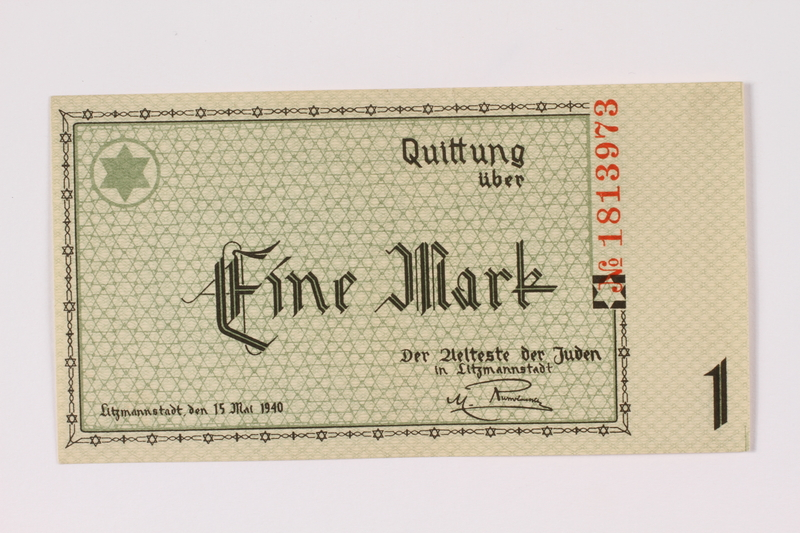 1990.16.47 front Łódź (Litzmannstadt) ghetto scrip, 1 mark note