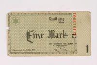 1990.16.48 front Lodz (Litzmannstadt) ghetto scrip, 1 mark note  Click to enlarge