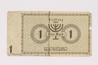 1990.16.48 back Lodz (Litzmannstadt) ghetto scrip, 1 mark note  Click to enlarge