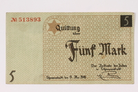 1990.16.49 front Lodz ghetto scrip, 5 mark note  Click to enlarge