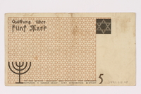 1990.16.49 back Lodz ghetto scrip, 5 mark note  Click to enlarge