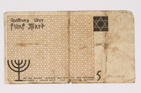 1990.16.50 back Łódź ghetto scrip, 5 mark note  Click to enlarge