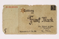 1990.16.51 front Lodz ghetto scrip, 5 mark note  Click to enlarge