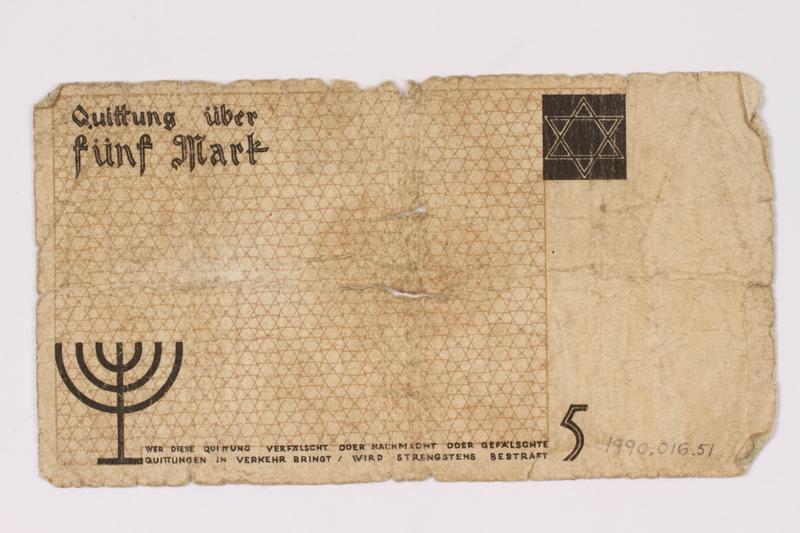 1990.16.51 back Lodz ghetto scrip, 5 mark note