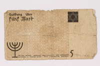 1990.16.51 back Lodz ghetto scrip, 5 mark note  Click to enlarge