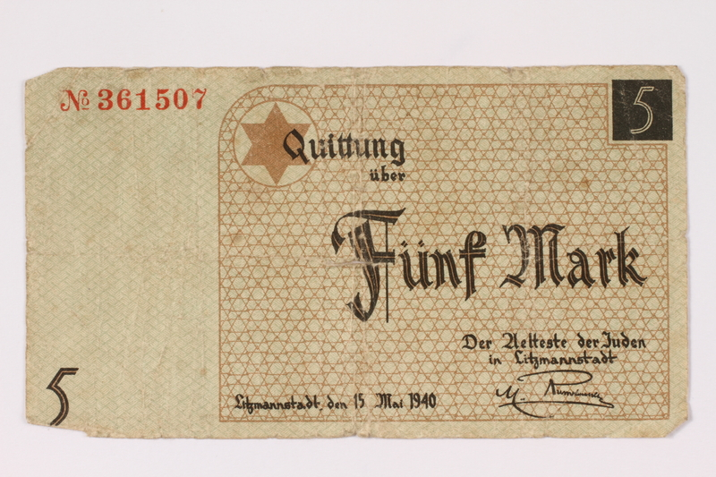 1990.16.53 front Łódź ghetto scrip, 5 mark note