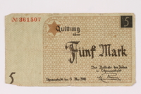 1990.16.53 front Łódź ghetto scrip, 5 mark note  Click to enlarge