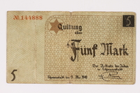 1990.16.54 front Łódź ghetto scrip, 5 mark note  Click to enlarge