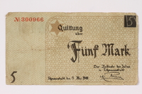 1990.16.55 front Łódź ghetto scrip, 5 mark note  Click to enlarge