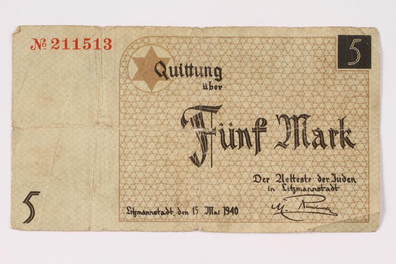 1990.16.56 front Łódź ghetto scrip, 5 mark note