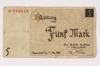 1990.16.56 front Łódź ghetto scrip, 5 mark note  Click to enlarge