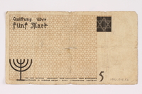 1990.16.56 back Łódź ghetto scrip, 5 mark note  Click to enlarge