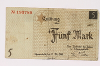 1990.16.57 front Łódź ghetto scrip, 5 mark note  Click to enlarge