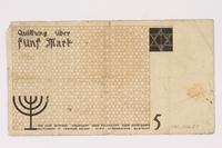 1990.16.57 back Łódź ghetto scrip, 5 mark note  Click to enlarge