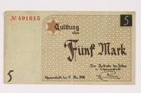 1990.16.58 front Lodz ghetto scrip, 5 mark note  Click to enlarge
