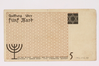 1990.16.58 back Lodz ghetto scrip, 5 mark note  Click to enlarge