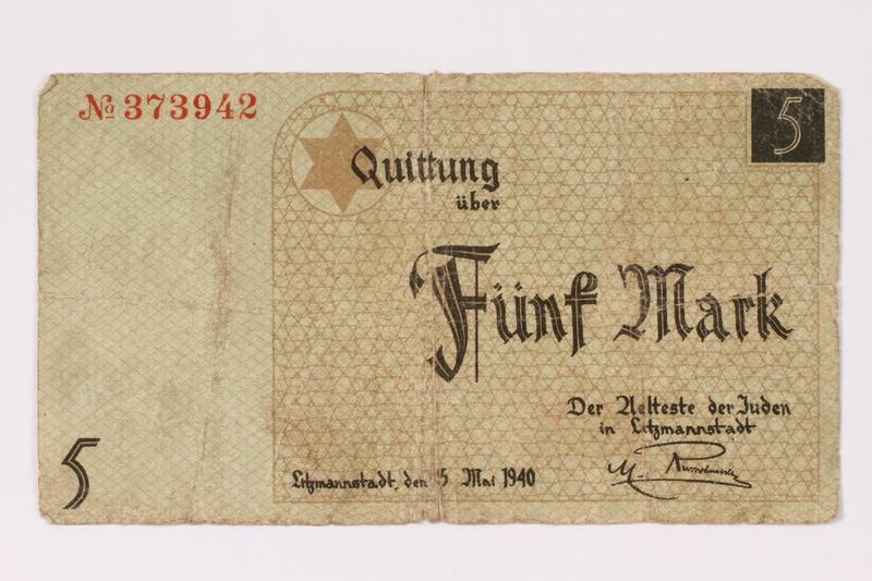 1990.16.59 front Łódź ghetto scrip, 5 mark note